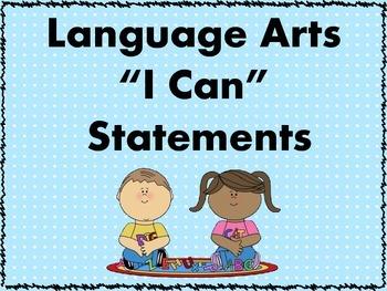 I Can Statements - Language Arts