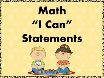I Can Statements - Mathematics