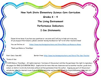 I Can Statements-NY K - 4 Science-Living Environment Perfo
