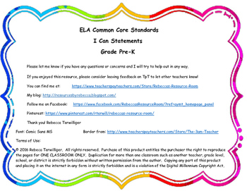 I Can Statements New York Common Core ELA Grade Pre-K