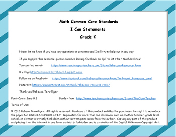 I Can Statements New York Common Core Math Grade K
