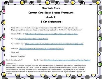 I Can Statements New York Common Core Social Studies Grade 2