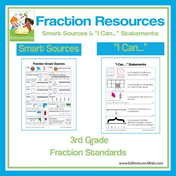 I Can Statements and Illustrated Fraction Terms: 3rd Grade