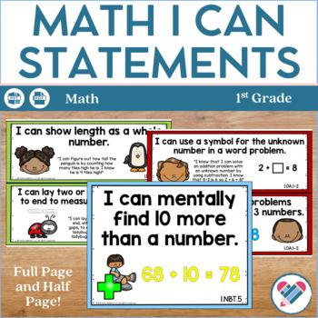 I Can Statements 1st Grade Math