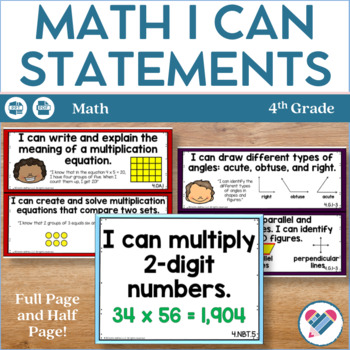 I Can Statements 4th Grade Math