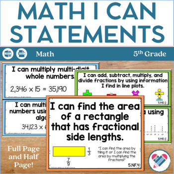 I Can Statements 5th Grade Math