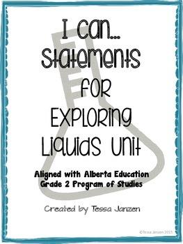 I Can Statements for Exploring Liquids Unit