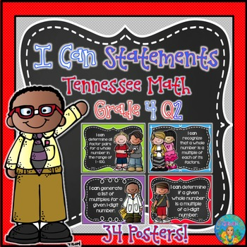 I Can Statements for Tennessee and Common Core Math Grade 4 Q2