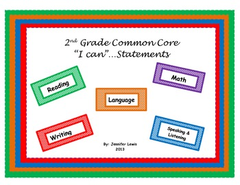 I Can Statements/Daily Student Objectives....Second Grade