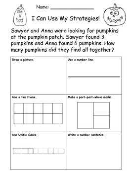 I Can Use My Strategies Halloween Word Problems FREEBIE