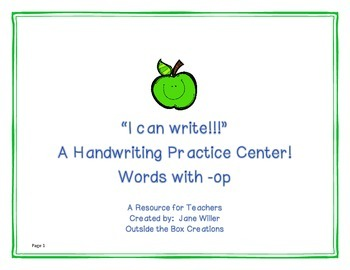 I Can Write! A Handwriting Center for Words with -Op