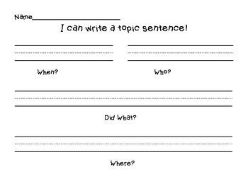 I Can Write A Topic Sentence