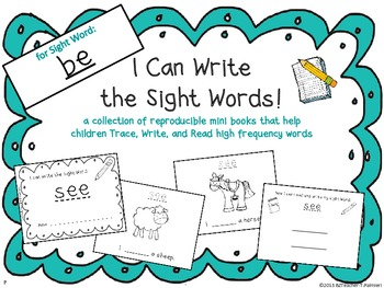 """""""I Can Write the Sight Word BE"""" Mini Book"""