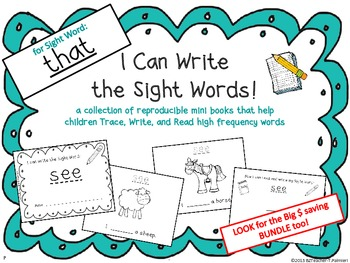 """I Can Write the Sight Word THAT"" Mini Book"