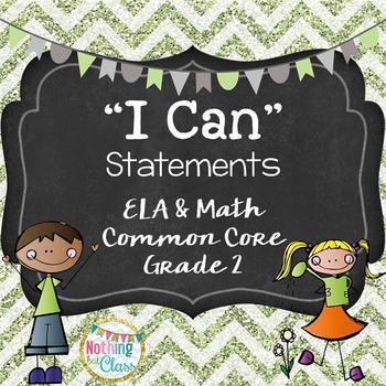 I Can statements for ELA and Math Common Core for Grade 2/