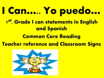 I Can statements in English and Spanish 1st grade reading
