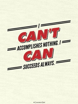 I Can't VS I Can Banner Motivation Poster Classroom PBIS E