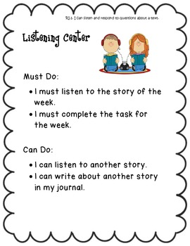 I Can..Balanced Literacy Center Signs K-2 Common Core