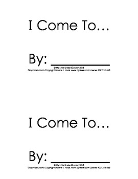 Harcourt Storytown K, lesson 10, I Come To book-hfw come,