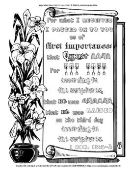 I Corinthians 15:3-4 Coloring Sheet and Word Puzzles