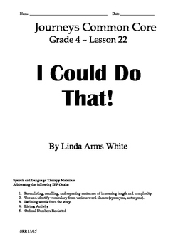 Journeys Common Core 4th- I Could Do That! Supplemental Pa