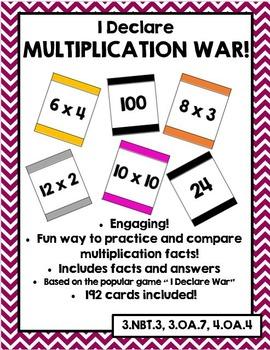 I Declare Multiplication War! (Multiplication Fluency Game)
