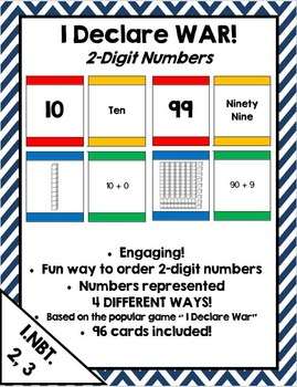 I Declare War! Place value & extended form card game for 2