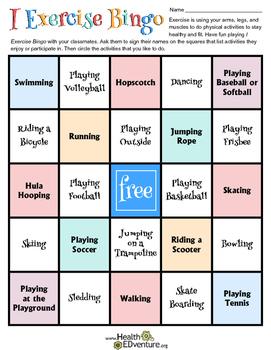 I Exercise Bingo