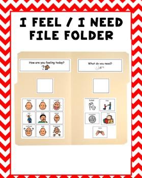 I Feel and I Need Visual File Folder {Autism & Special Education}