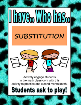 I HAVE WHO HAS- SUBSTITUTION