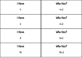 I HAVE, WHO HAS - Skip Counting by 2