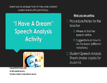 "Martin Luther King, Jr. ""I have a Dream"" Speech Activity"