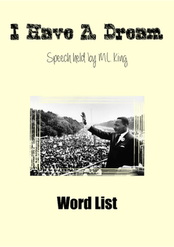 I Have A Dream (Word List)