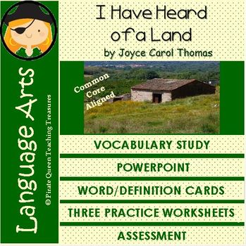 I Have Heard of a Land Vocabulary Activities/Common Core Aligned