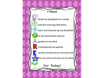 I Have PREPARED For Today Poster: morning routine checklis