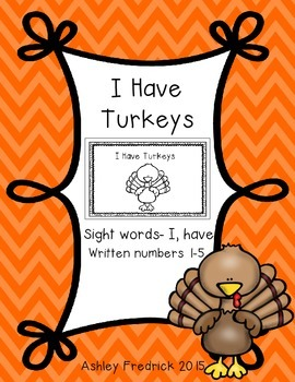 I Have Turkeys Emergent Reader