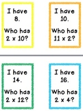 I Have Who Has 2s Multiplication