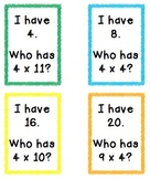 I Have Who Has 4s Multiplication