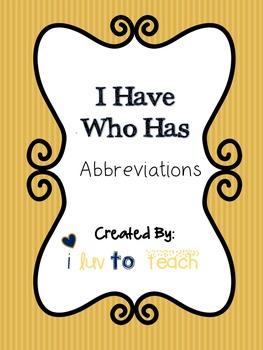 I Have Who Has: Abbreviations