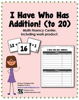 I Have Who Has, Addition Facts to 20