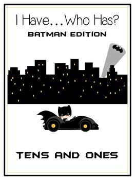 I Have Who Has BATMAN Math Folder Game TENS & ONES Place V