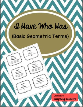I Have Who Has Basic Geometric Terms