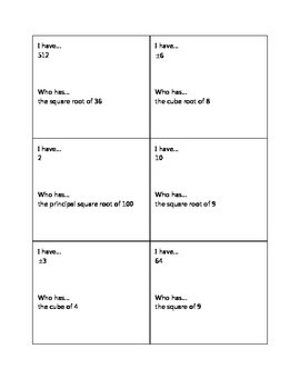 I Have Who Has Cards - Square Roots and Cube Roots