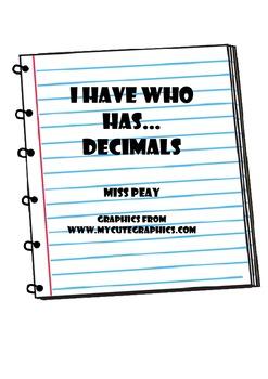 I Have Who Has Decimals