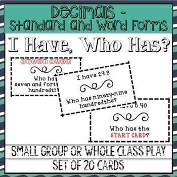I Have... Who Has? Decimals