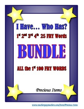 "I Have... Who Has?  ""FRY"" Sight Words BUNDLE set"