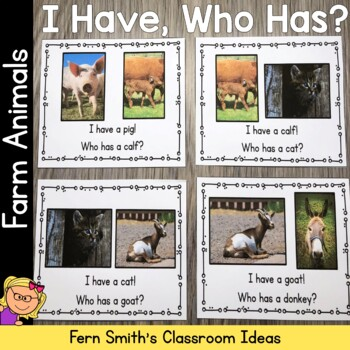 I Have, Who Has? Farm Animal Cards