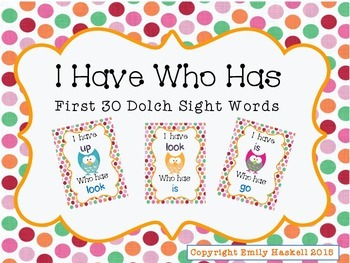 I Have Who Has First 30 Dolch Sight Words