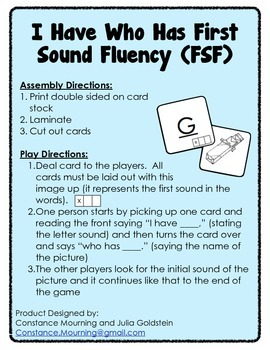 I Have Who Has First Sound Fluency