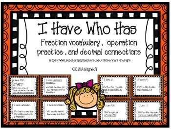 I Have Who Has Fraction and Decimal Review Game